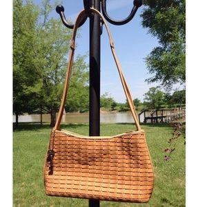 Fossil tan basket weave leather hobo bag